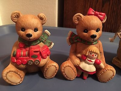 Collectible Vintage Homco Home Interiors Christmas teddy bear figurines set 5560