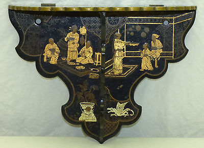 Antique Aesthetic Japanese Black Lacquer Folding Wall Shelf Gold Chinoiserie
