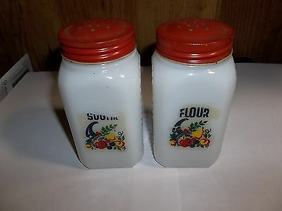 "Phenominal 5""antique Hazel Atlas Flour & Sugar Shakers Milk Glass Red Metal Lids"