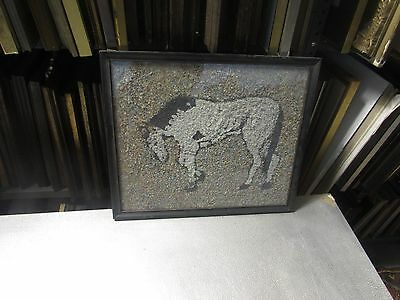 Vintage Gravel Art Rocks Stones Pebbles Horse Picture Mosaic