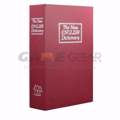 Red Large Home Security Dictionary Book Safe Storage Key Lock Box