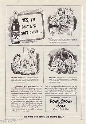 1942 WWII Soldier Art Royal Crown Cola Soda print ad