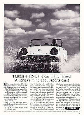 "1961 Triumph TR3 TR-3 ""In Ocean Surf"" photo promo ad"