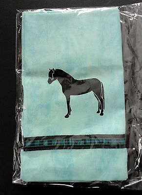 Welsh Pony Horse Window Valance Green denim w/ black horses ribbon SALE