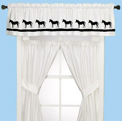 Donkey Mule Window Valance natural denim w/ dark navy design  sample sale