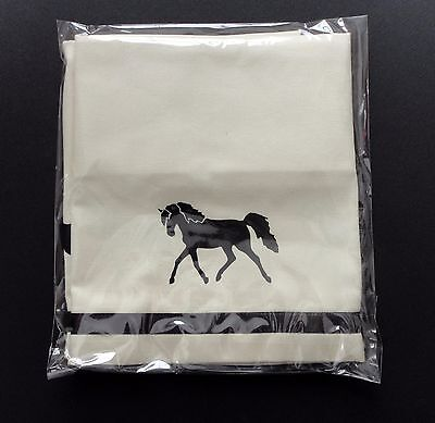 Andalusian Horse Window Valance Natural denim w/ black design sample sale