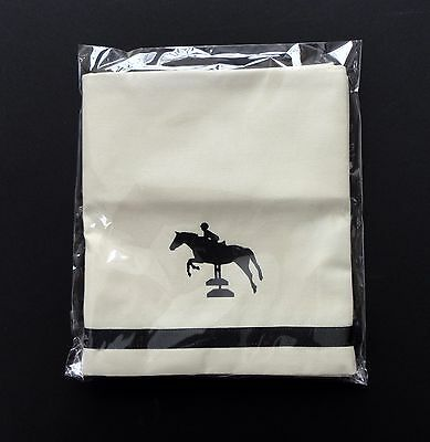 Jumper Horse Window Valance white cotton with black design sample sale