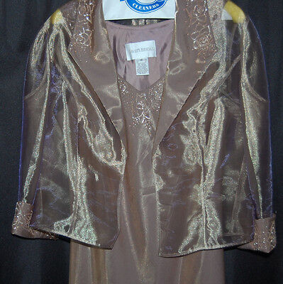 David's Bridal Metallic Gold Beaded Formal Mother of Bride Dress with Jacket 14