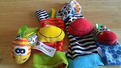 SOZZY Baby Toy Infant Rattles Toys Animal Puppet Socks Wrist and Strap Rattle