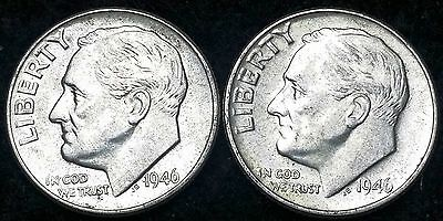 Lot of 2 1946 Roosevelt 90% Silver Dimes - 10 Cents **GREAT CONDITION**