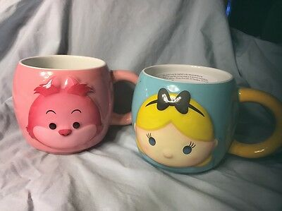 Disney Tsum Tsum Alice In Wonderland Cheshire Cat Mugs Coffee Set Of 2 Large