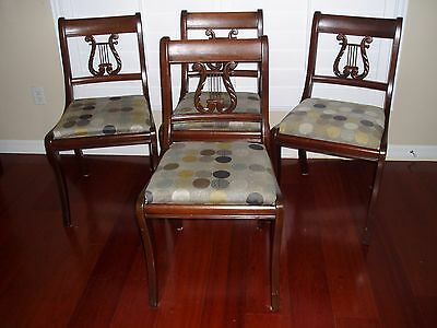 GEORGETOWN GALLERIES~Solid Mahogany Lyre Harp Back Dining Chairs~Set of 4