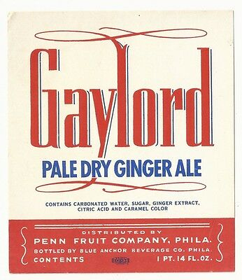 1930's Gaylord Pale Dry Ginger Ale Label - Philadelphia, PA