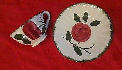 Blue Ridge Southern Pottery Hand Painted Vintage APPLE TRIO Cup & Saucer Set