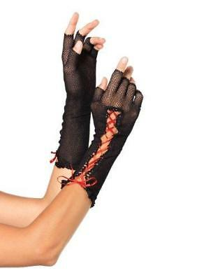Leg Avenue Women's Lace Up Fishnet Fingerless Gloves, Black, One Size