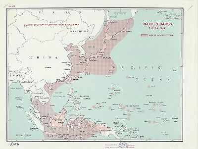 Japanese Control Pacific 1945 CIA declassified map World War 2 WWII