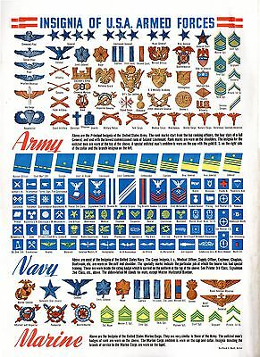 WORLD WAR II POSTER Badge of RANK patches INSIGNIA Navy Army Marines WW2 WWII
