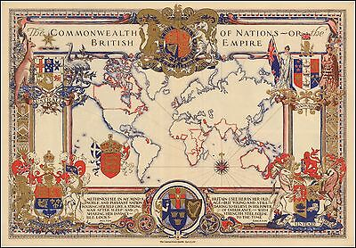 Extent of the British Empire 1937 pictorial map POSTER 50613