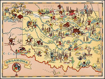 Oklahoma 1935 pictorial map POSTER Ruth Taylor White 30269