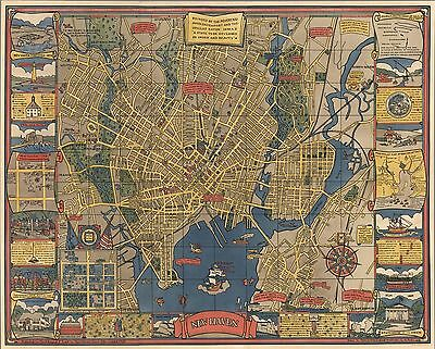 1928 Antique Map POSTER New Haven Connecticut streets parks waterways 7916000
