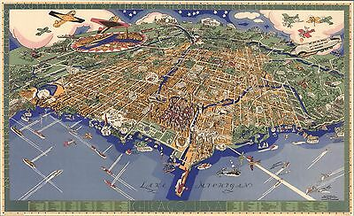 1931 PICTORIAL map Birds eye view Chicago whimsical sea monsters POSTER 8054