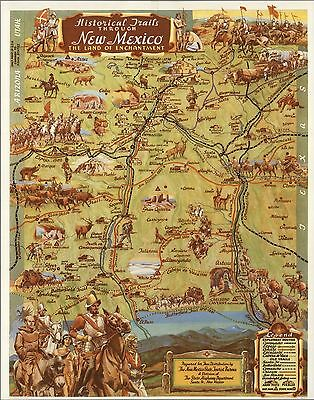 1941 Antique Map POSTER Historical Trails New Mexico Land Enchantment 6868001