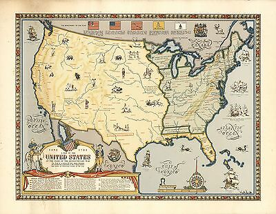 1957 map United States at end Revolutionary War Indian tribes POSTER 8785001