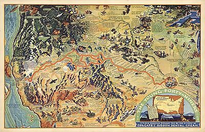 1933 Antique Map POSTER Pictorial Young Forty-Niners wagon train gold 8380000