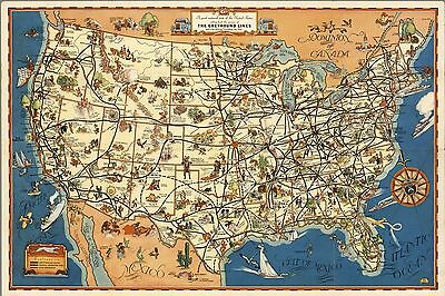 1933 PICTORIAL good-natured map United States The Greyhound Lines POSTER 8303000