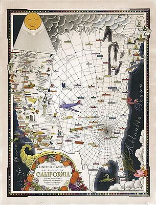 1940 pictorial map humorous United States as viewed by California  POSTER 8599