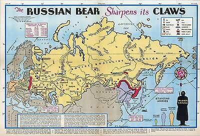 1944 PICTORIAL Map Russian bear sharpens its claws WW2 POSTER 9935