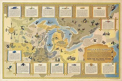 1942 pictorial map Great Lakes region Indians Native American Tribes 8182000