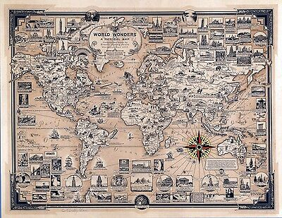 1939 PICTORIAL map World Wonders vignettes structures ships scenery POSTER 6794