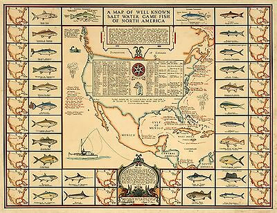 1936 pictorial map Well Known Salt Water Game Fish of North America POSTER 8626