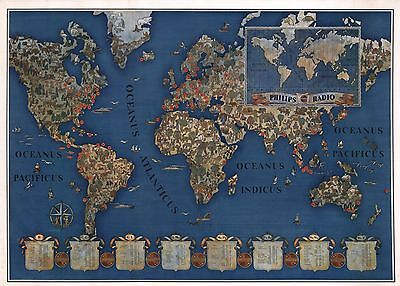 1935 PICTORIAL map worlds short wave radio stations Philips Radio POSTER 8110