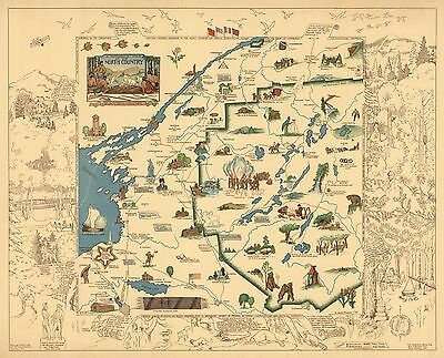 1935 pictorial map Romance Map of the North Country New York POSTER 8899000