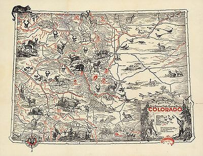 1950 PICTORIAL Map where find big game fish game birds in Colorado POSTER 9919