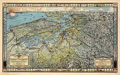 1936 pictorial map The Evergreen Playground Seattle Washington POSTER 8854000