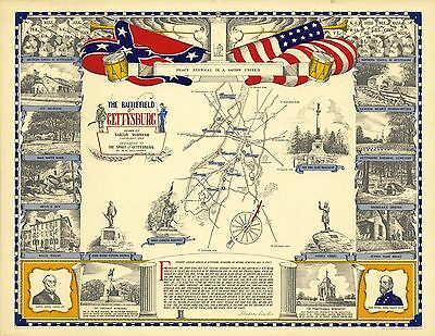 1953 PICTORIAL Map Battlefield Gettysburg with Gettysburg Address POSTER 9624000