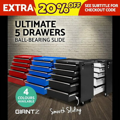 Giantz 5 Drawers Mechanic Tool Box Storage Chest Cabinet Garage Trolley 4 Colour