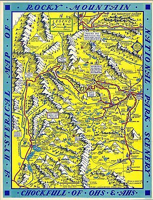 Rocky Mountain National Park Hysterical 1948 Pictorial Map comic POSTER 12001