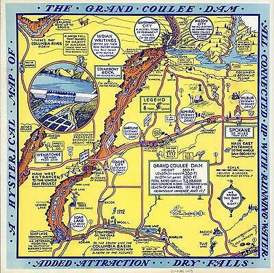 Grand Coulee Dam Hysterical 1940 Pictorial Map comic vignettes POSTER 6070