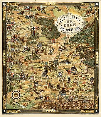 1948 pictorial map Bavaria Hesse Wurtemberg-Baden US zone WW2 POSTER 8147000