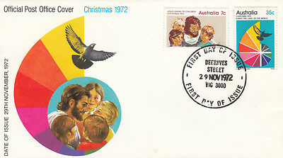 Stamps Australia 1972 Christmas 7c & 25c on official post office first day cover