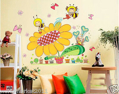 Children Room Beautiful Sunflower/Bees Removeable Wall Decoration Wall Sticker