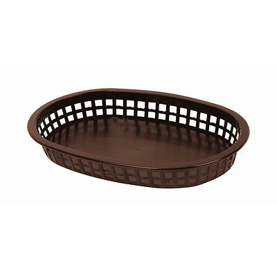 "3 PC Large Plastic 10-3/4"" Fast Food Basket Baskets Tray DARK BROWN PLBK1034B"