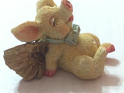 Small  Dreaming / Sleeping   Piglet  With Wings   Precious Collectible