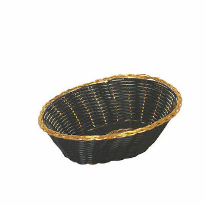 "1 DZ Thunder Group Fast Food basket Baskets Gold/Black Oval 9"" PLBB900G NEW"