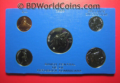 1989 Dominican Republic (5) Coins Mint Set Bu Proof-Like Fields! Rare Mint=1,000