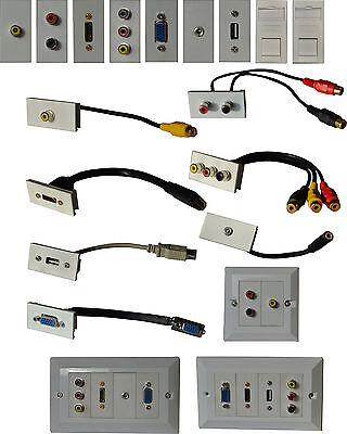 Placa Pared Multimedia Enchufes para Conectores HDMI VGA Audio RCA USB RJ45 AV